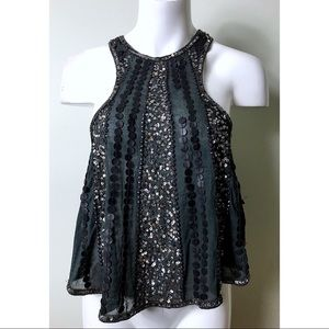 Pins & Needles Beaded Sequins Cutout Swing Top
